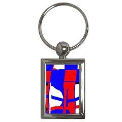 Blue, red, white design  Key Chains (Rectangle)