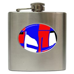 Blue, red, white design  Hip Flask (6 oz)