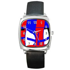 Blue, red, white design  Square Metal Watch