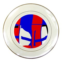 Blue, red, white design  Porcelain Plates