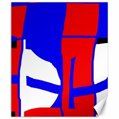 Blue, red, white design  Canvas 8  x 10