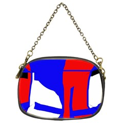 Blue, red, white design  Chain Purses (Two Sides)