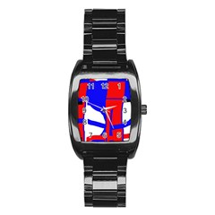 Blue, red, white design  Stainless Steel Barrel Watch
