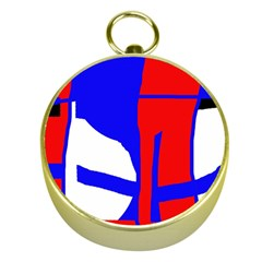 Blue, red, white design  Gold Compasses