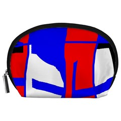 Blue, red, white design  Accessory Pouches (Large)