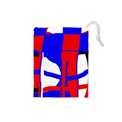 Blue, red, white design  Drawstring Pouches (Small)