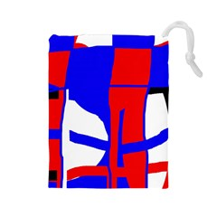 Blue, red, white design  Drawstring Pouches (Large)