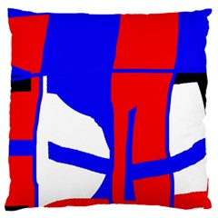 Blue, red, white design  Large Flano Cushion Case (One Side)