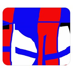 Blue, red, white design  Double Sided Flano Blanket (Small)