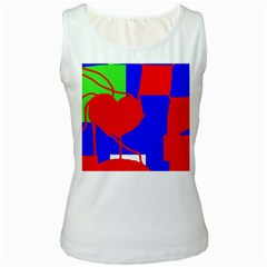 Abstract hart Women s White Tank Top
