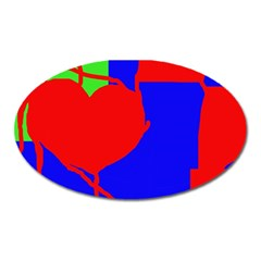 Abstract hart Oval Magnet