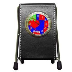 Abstract hart Pen Holder Desk Clocks