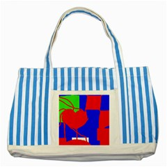 Abstract hart Striped Blue Tote Bag