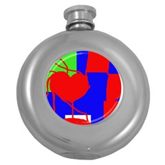 Abstract hart Round Hip Flask (5 oz)