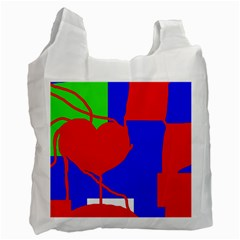 Abstract hart Recycle Bag (One Side)