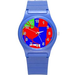 Abstract hart Round Plastic Sport Watch (S)