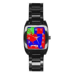 Abstract hart Stainless Steel Barrel Watch