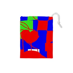 Abstract hart Drawstring Pouches (Small)