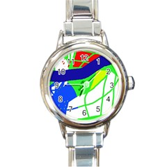 Colorful abstraction Round Italian Charm Watch