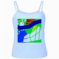 Colorful Abstraction Baby Blue Spaghetti Tank