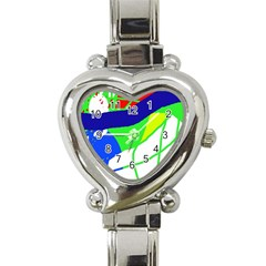 Colorful abstraction Heart Italian Charm Watch