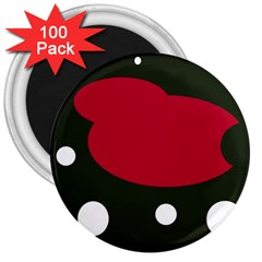 Red, black and white abstraction 3  Magnets (100 pack)
