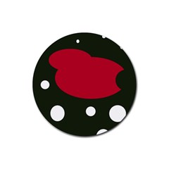 Red, black and white abstraction Rubber Coaster (Round)