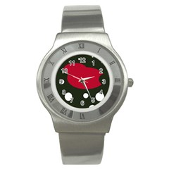 Red, black and white abstraction Stainless Steel Watch