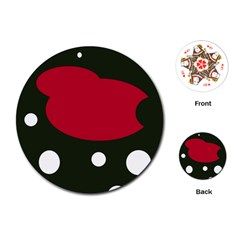 Red, black and white abstraction Playing Cards (Round)