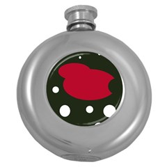Red, black and white abstraction Round Hip Flask (5 oz)