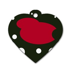 Red, black and white abstraction Dog Tag Heart (Two Sides)