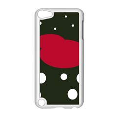 Red, black and white abstraction Apple iPod Touch 5 Case (White)