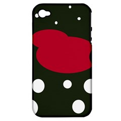 Red, black and white abstraction Apple iPhone 4/4S Hardshell Case (PC+Silicone)