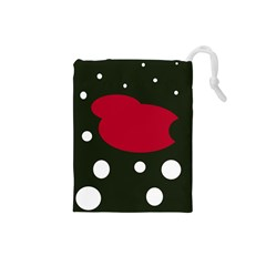 Red, black and white abstraction Drawstring Pouches (Small)