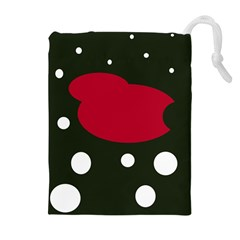 Red, black and white abstraction Drawstring Pouches (Extra Large)