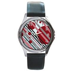 Colorful lines and circles Round Metal Watch