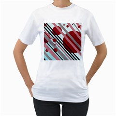 Colorful lines and circles Women s T-Shirt (White) (Two Sided)