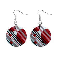 Colorful lines and circles Mini Button Earrings