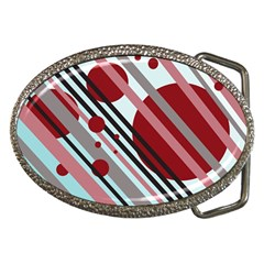 Colorful lines and circles Belt Buckles