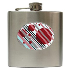 Colorful lines and circles Hip Flask (6 oz)