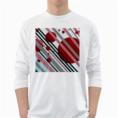 Colorful lines and circles White Long Sleeve T-Shirts