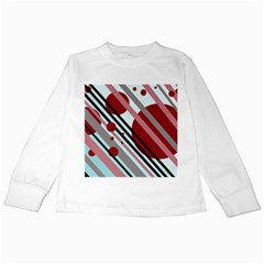 Colorful lines and circles Kids Long Sleeve T-Shirts