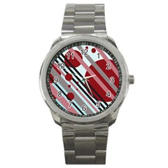 Colorful lines and circles Sport Metal Watch