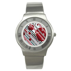 Colorful lines and circles Stainless Steel Watch