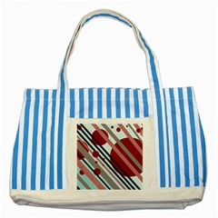 Colorful lines and circles Striped Blue Tote Bag