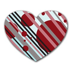 Colorful lines and circles Heart Mousepads