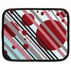 Colorful lines and circles Netbook Case (Large)