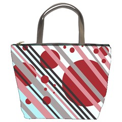 Colorful lines and circles Bucket Bags