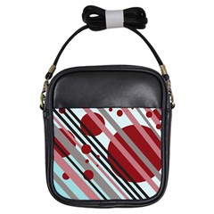 Colorful lines and circles Girls Sling Bags