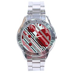 Colorful lines and circles Stainless Steel Analogue Watch
